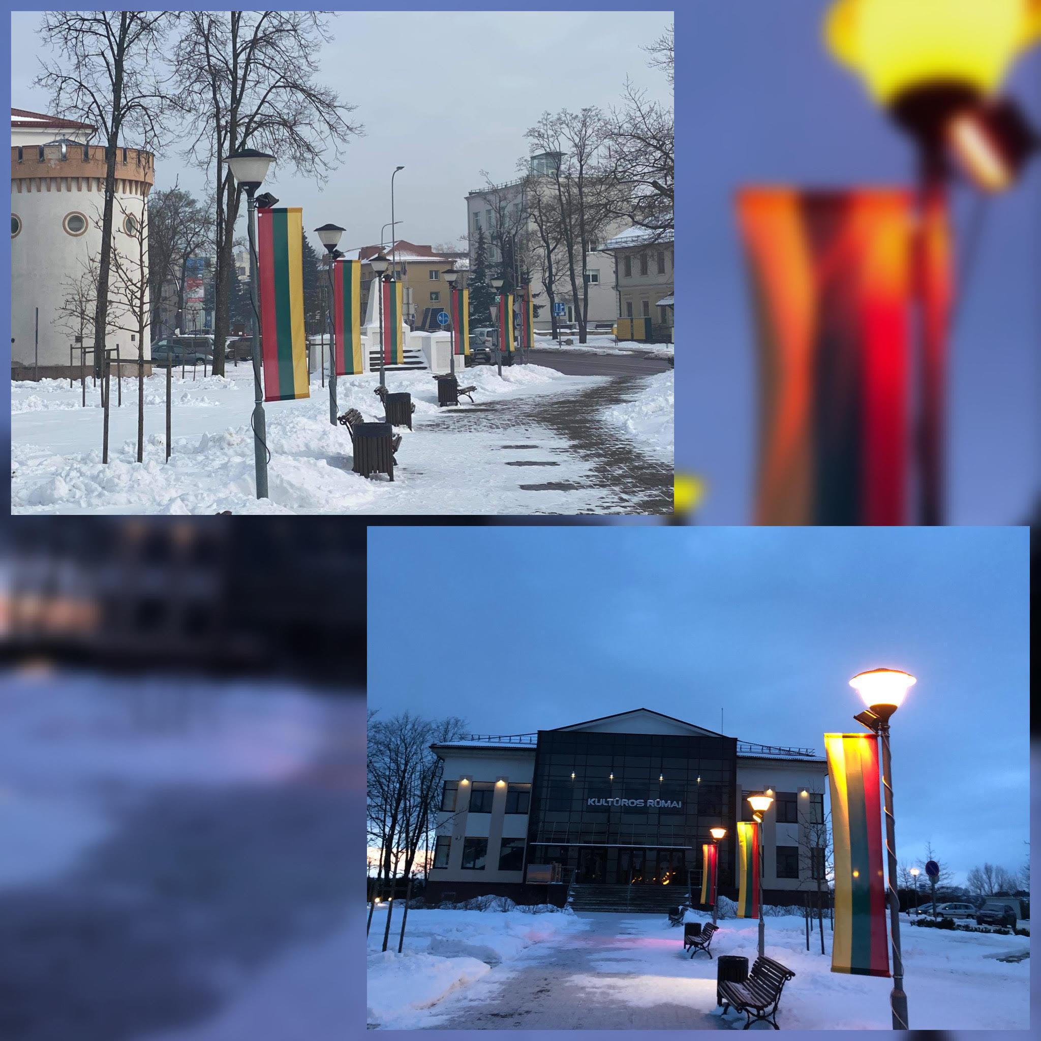 2021-02-08 Kultūros centro prieigas papuošė vėliavėlės