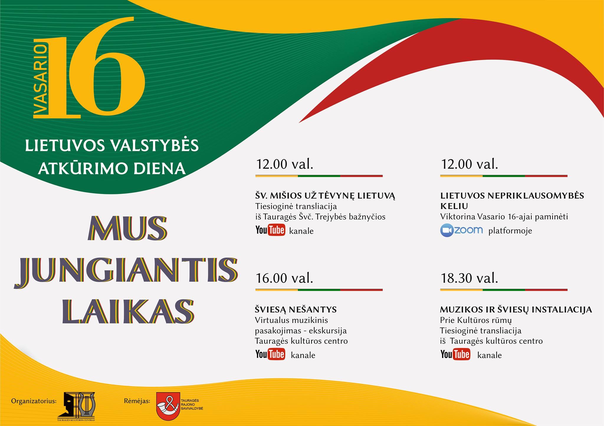 2021-02-10 Tauragės kultūros centras kviečia švęsti Lietuvos Valstybės atkūrimo šventę