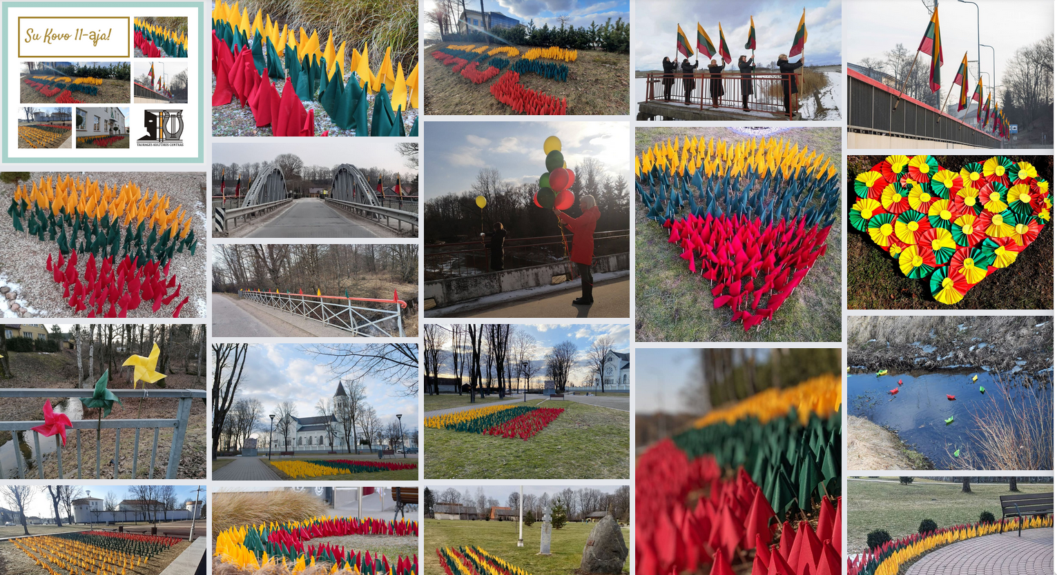 2021-03-12 Lietuvos Nepriklausomybės atkūrimo dieną  Tauragėje suplazdėjo tūkstančiai trispalvių