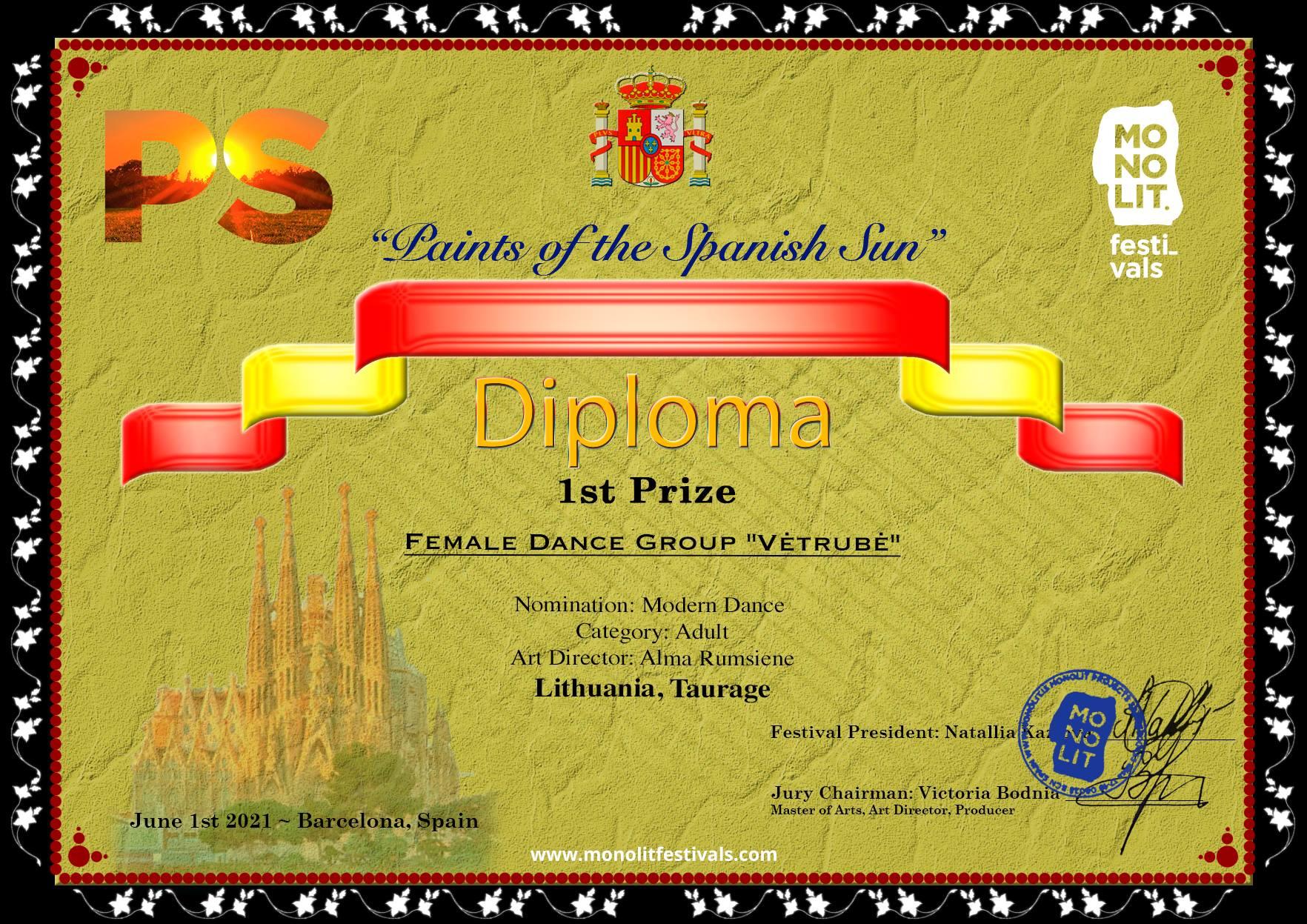 """2021-06-03 Moterų šokių grupei """"Vėtrubė"""" aukščiausi tarptautinio konkurso apdovanojimai"""